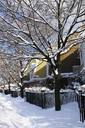Winter street with lots of snow and colorful houses in Toronto