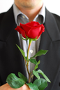 Man in black suit holding a red rose