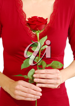 Woman in red holding a red rose