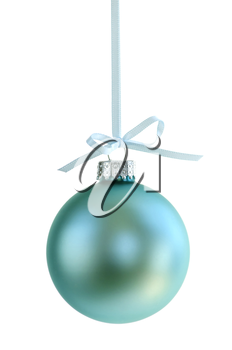 Green Christmas decoration hanging isolated on white