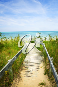 Wooden path over dunes at beach. Pinery provincial park, Ontario Canada