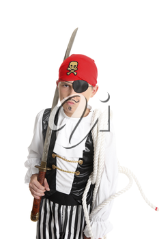 Pirate holding a sword and mariners rope.  eg halloween, costume party, theatre, or school play.