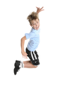 Active, energetic and happy go lucky boy leaping and smiling.  fitness or concept