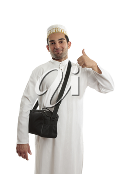 Happy ethnic arab man showing a thumbs up hand sign.  White background.
