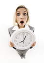 Fish-eye of businesswoman opening her mouth in amusement showing clock