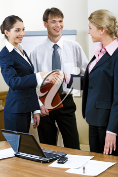 Image of confident business people standing and shaking hands