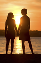 Rear view of romantic couple looking at each other on seashore at sunset