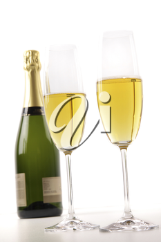Royalty Free Photo of Champagne and Two Glasses