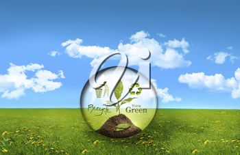 Royalty Free Photo of a Glass Sphere on Grass