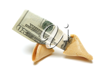 A shot of fortune cookie containing money