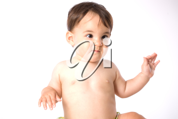 Portrait of cute baby wearing diaper - white background.