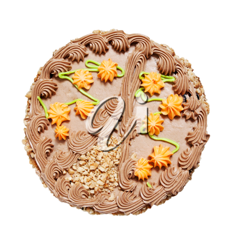 Walnut cake with butter cream on a white background