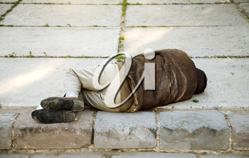 homelessness life concept, focus point on nearest part of the man