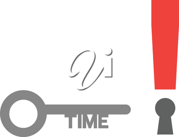 Vector red exclamation mark with time key.