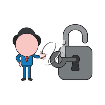 Vector illustration concept of businessman character unlocked padlock with key and giving thumbs-up. Color and black outlines.