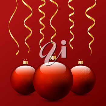 Christmas balls and serpentine on a red background. Vector illustration .