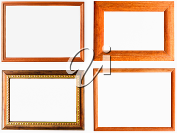 Vintage Picture Frame, Wood Plated, White Background. Set, Collage.