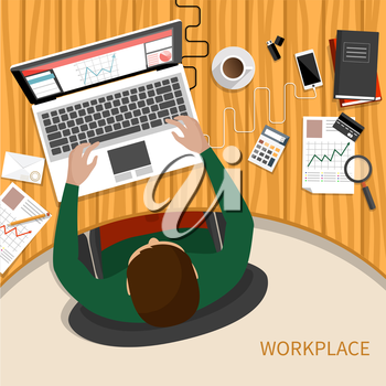 Office workplace. Business man working with laptop and documents on table, top view. Flat design cartoon style