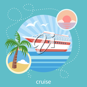 Cruise ship in clear blue water near island with palm tree. Water tourism. Icons of traveling, planning a summer vacation, tourism and journey objects