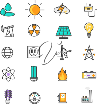 Set of thin lines icons energy and resource icon set power and energy production, electric industry, natural energy sources. Flat thin line icons modern design style