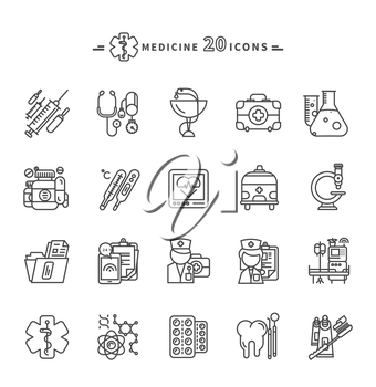 Set of black medicine thin, lines, outline icons. Items for for medical care, medicines, tools, results of the survey, badges on white background. For web and mobile applications