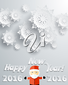 Snowflakes background for winter and New Year, christmas theme. Snow, christmas, snowflake background, snowflake winter. 3D paper snowflakes. Happy New Year 2016. Silver snowflake and Santa Claus