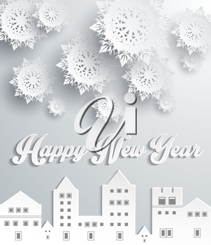 Happy new year snow city design. Snowflake and holiday, comfort celebration, greeting merry december, season celebrate and festive, homey city, building decorative illustration