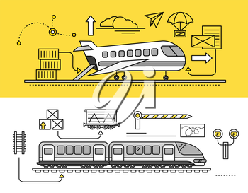 Freight Forwarding by air and rail by train. Transport delivery, shipping import industry, distribution and logistic, export railway transportation. Set of thin, lines, outline flat icons