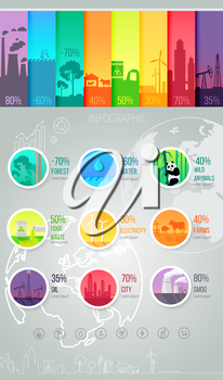 Infographic template for industry. Data information or report. World global indicators of forest and water, wildlife and tksicheskih waste, production of oil and harmful emissions. Vector illustration