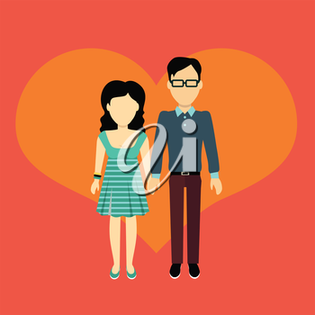 Couple in love banner flat design style. Man and woman, boy and girl holding hands. In the background of the heart silhouette. Romantic banner flat together male and female, vector illustration