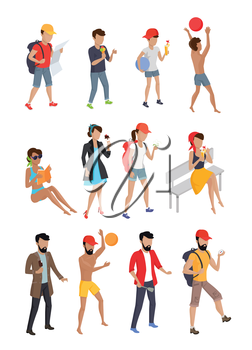 Big set summer people characters. Personages on vacation vector flat design illustration. Hiking, playing ball, eating coking, walking, seating, standing woman, kid, and man.