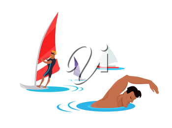Summer entertainment concept illustration. Vector flat design. Active vacation on tropical sunny seaside. Water sport. Swimming and windsurfing on the coast in flat design. On white background.