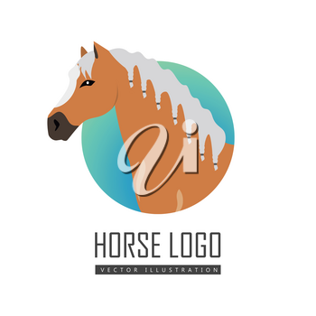 Red horse logo with white white mane vector. Flat design. Domestic animal. Country inhabitants concept. For farming, animal husbandry, horse sport illustrating. Agricultural species. Isolated on white