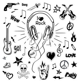 Headphones and electric guitar monochrome sketches icons vector. Audio and stereo sound, rock sign and skull with bones symbol. Revolver and star