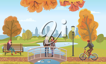 Couple people in love on bridge feeding animals autumn vector. Woman talking on phone sitting on wooden bench. Biker with protective helmet riding