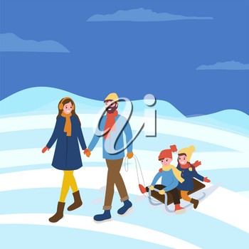 Mother and father, kids sitting on sledges winter season activities vector. Evening married couple with children on sleds, seasonal walks outdoors