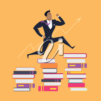 Getting on top of knowledge vector concept. Flat design. Man in business suit running on piles of books. Self-education, educational level and literature reading concept. On orange background.