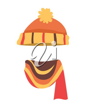 Hat. Contemporary soft orange knitted hat and bright scarf. Striped knitted scarf twisted on the right side with different coloured lines, yellow, brown. White background. Vector illustration
