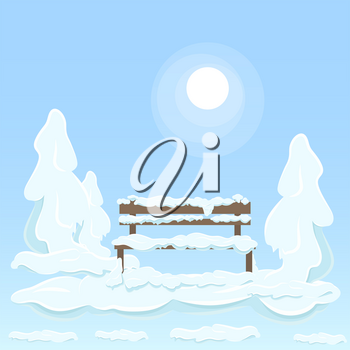 Wooden isolated bench under white snow between covered with great pile of snow trees on blue background with shining sun. Vector flat illustration of frosty and snowy winter weather outdoors.