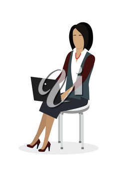 Business woman working with laptop in office. Woman in business suit sitting on the chair and using laptop. Business woman at the workplace. Isolated object in flat design on white background.