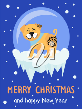 Merry Christmas and Happy New Year 2018 symbol beige spotted dog on snowy background. Vector illustration with cute smiling pet in colorful collar
