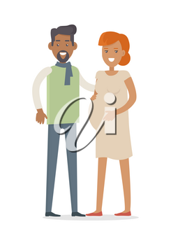 Man and woman expecting baby. Young family. Pregnant woman, pregnancy female belly. Future mother and father characters vector. Pregnant woman lifestyle. Happy maternity. Motherhood concept