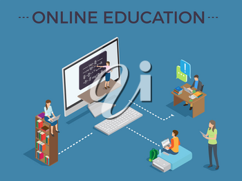 Online education process template with studying people via Internet in front of various gadgets vector colorful illustration in graphic design