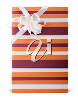 striped box with bow isolated on white