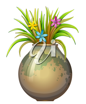 Illustration of a big flowervase with flowering plants on a white background