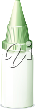 Illustration of a medicine bottle with a cone-shaped lid on a white background
