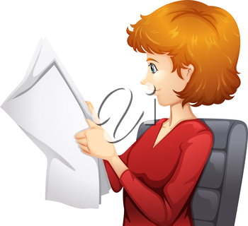 Illustration of a woman reading on a white background