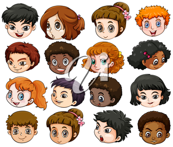 Illustration of the heads of different people on a white background