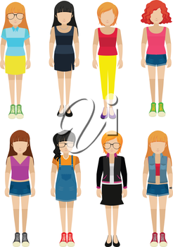 Faceless ladies on a white background