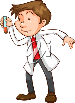 Illustration of a simple sketch of a scientist on a white background